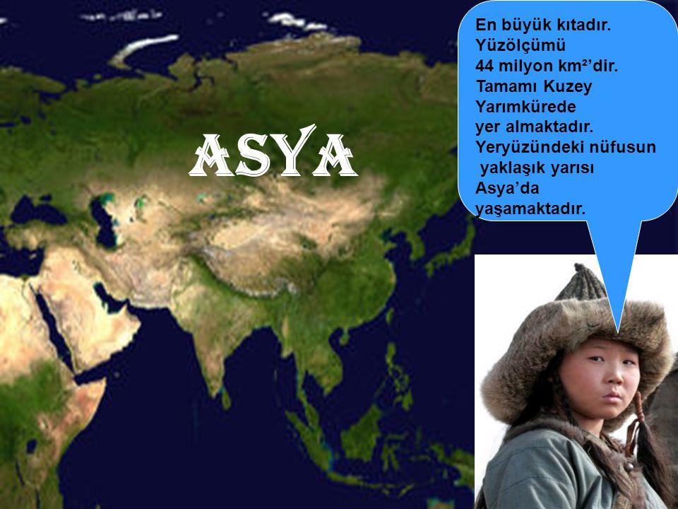 ASYA En büyük kıtadır. Yüzölçümü 44 milyon km²'dir.