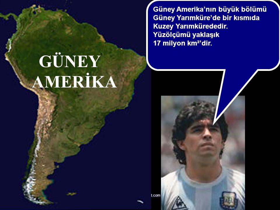 AMERİKA Güney Amerika'nın büyük bölümü Güney Yarımküre'de bir kısmıda