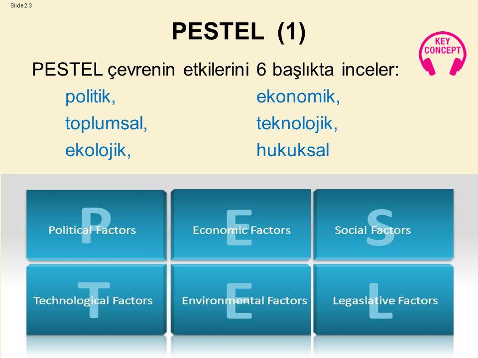 PESTEL (1) PESTEL çevrenin etkilerini 6 başlıkta inceler: politik, ekonomik, toplumsal, teknolojik, ekolojik, hukuksal