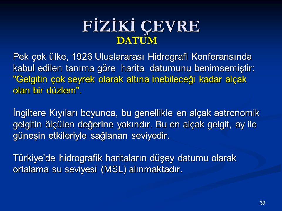 FİZİKİ ÇEVRE DATUM. Pek çok ülke, 1926 Uluslararası Hidrografi Konferansında. kabul edilen tanıma göre harita datumunu benimsemiştir:
