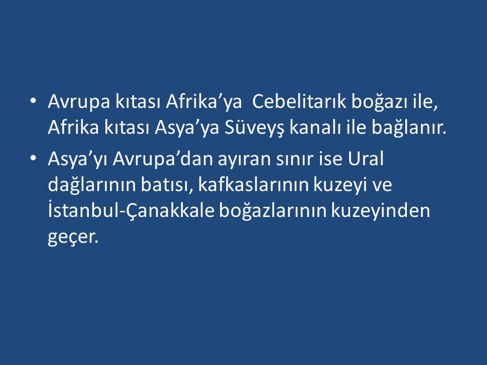 Avrupa kıtası Afrika'ya Cebelitarık boğazı ile, Afrika kıtası Asya'ya Süveyş kanalı ile bağlanır.