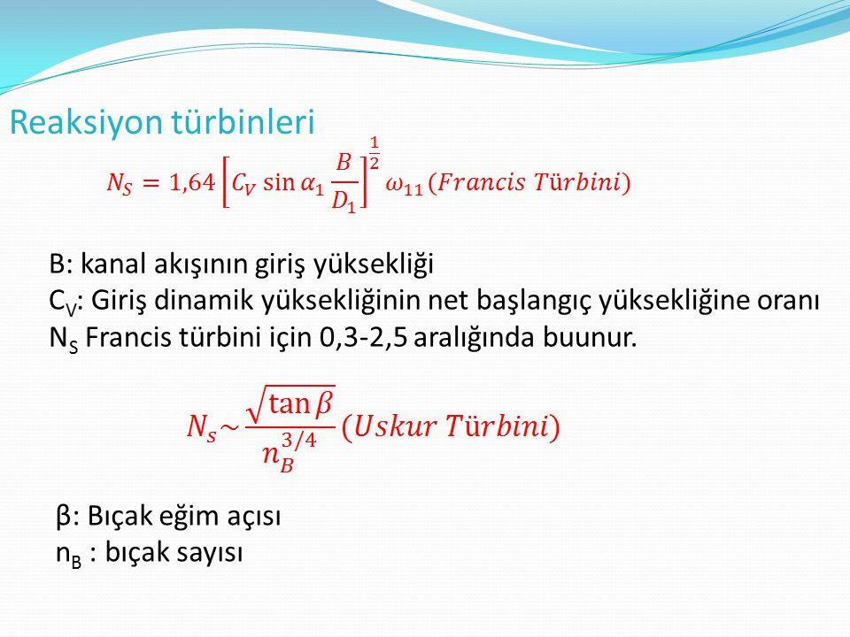 Reaksiyon türbinleri B: kanal akışının giriş yüksekliği