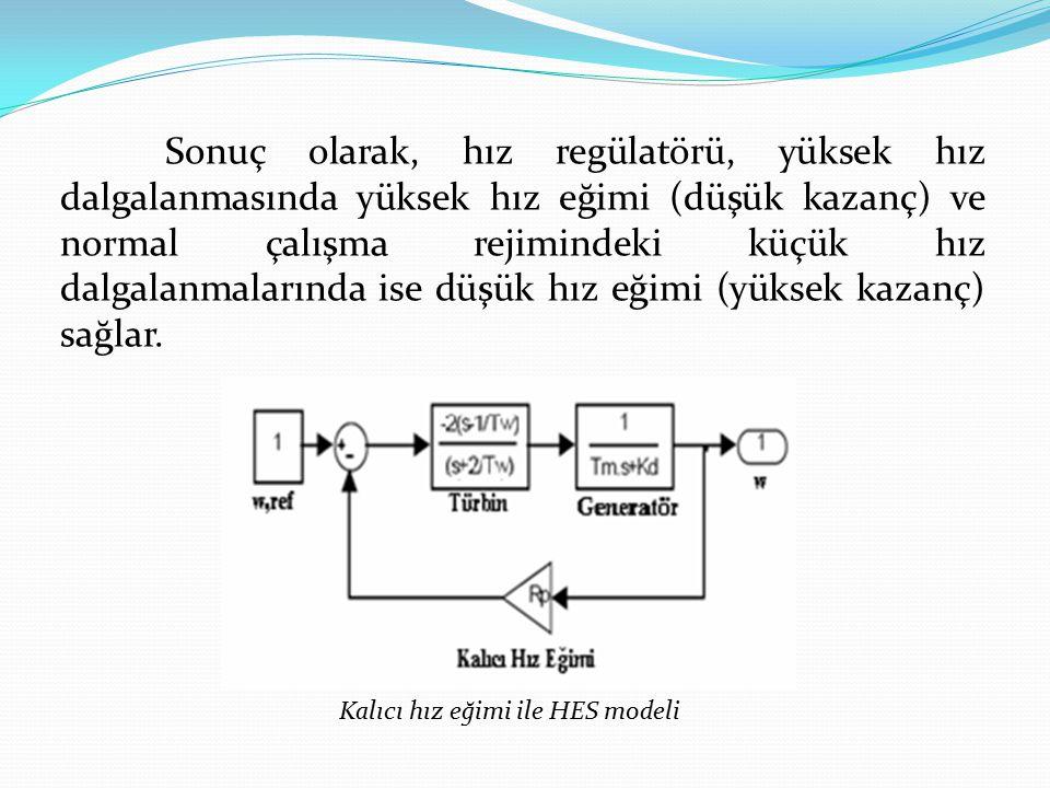 Sonuç olarak, hız regülatörü, yüksek hız dalgalanmasında yüksek hız eğimi (düşük kazanç) ve normal çalışma rejimindeki küçük hız dalgalanmalarında ise düşük hız eğimi (yüksek kazanç) sağlar.
