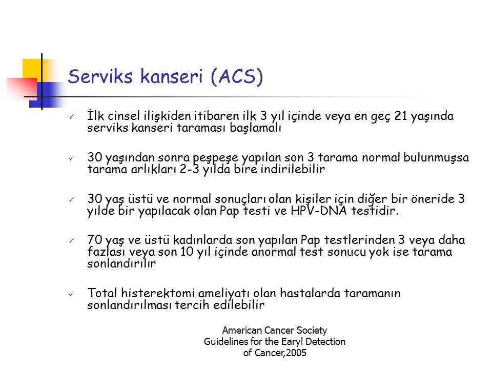 Serviks kanseri (ACS) İlk cinsel ilişkiden itibaren ilk 3 yıl içinde veya en geç 21 yaşında serviks kanseri taraması başlamalı.