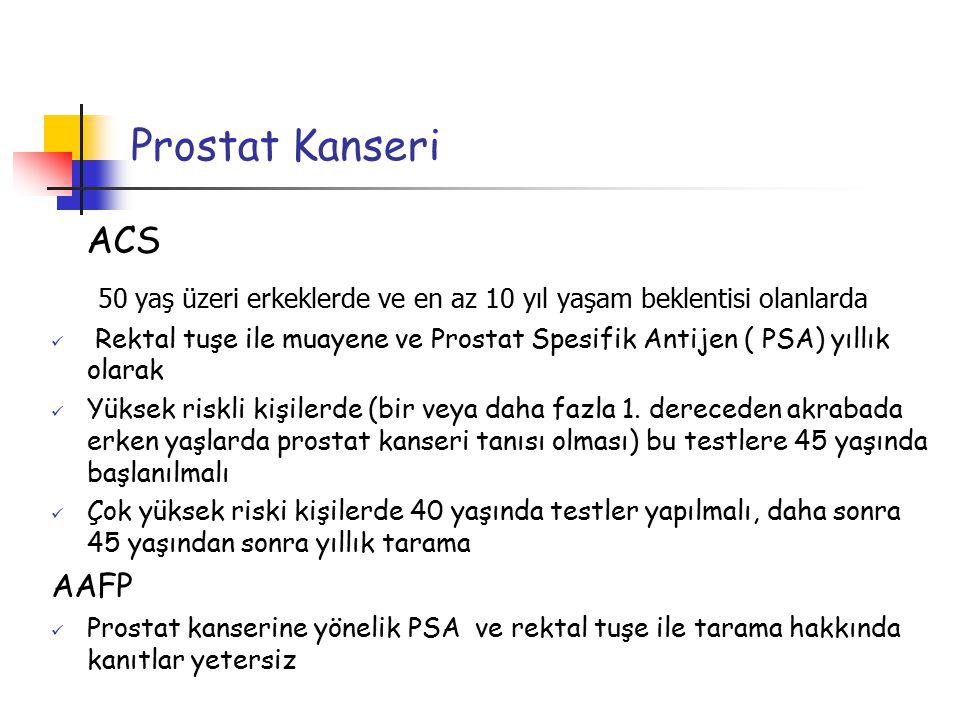 Prostat Kanseri ACS. 50 yaş üzeri erkeklerde ve en az 10 yıl yaşam beklentisi olanlarda.
