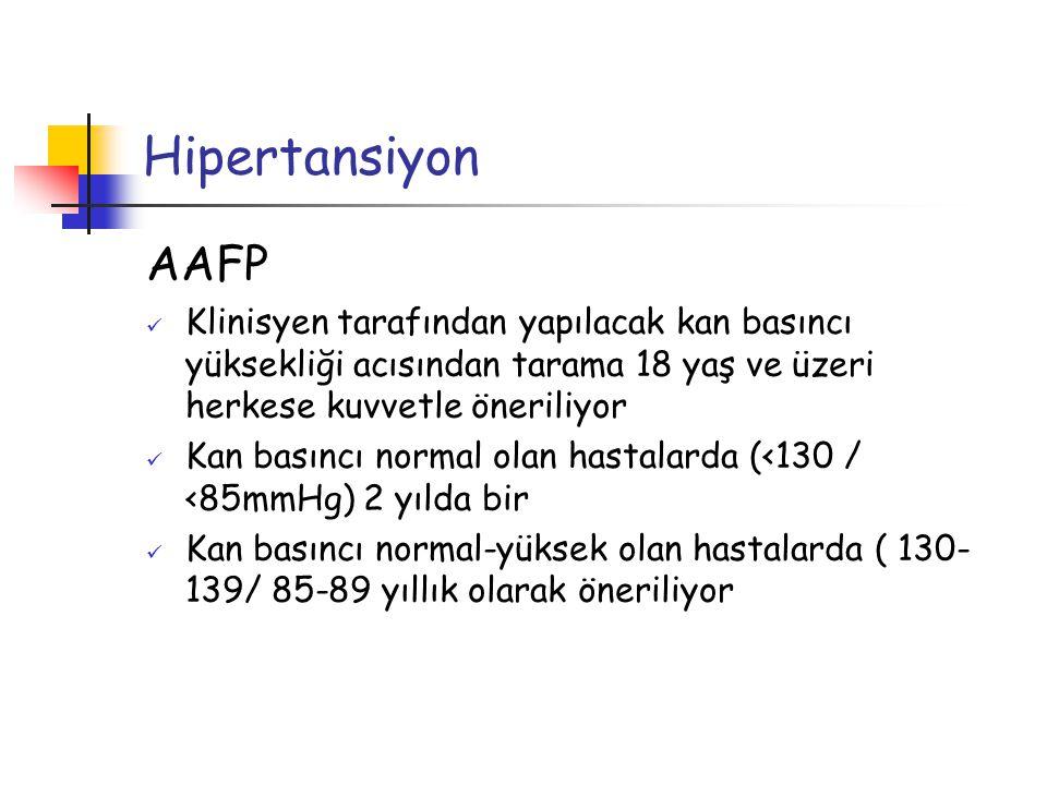 Hipertansiyon AAFP. Klinisyen tarafından yapılacak kan basıncı yüksekliği acısından tarama 18 yaş ve üzeri herkese kuvvetle öneriliyor.
