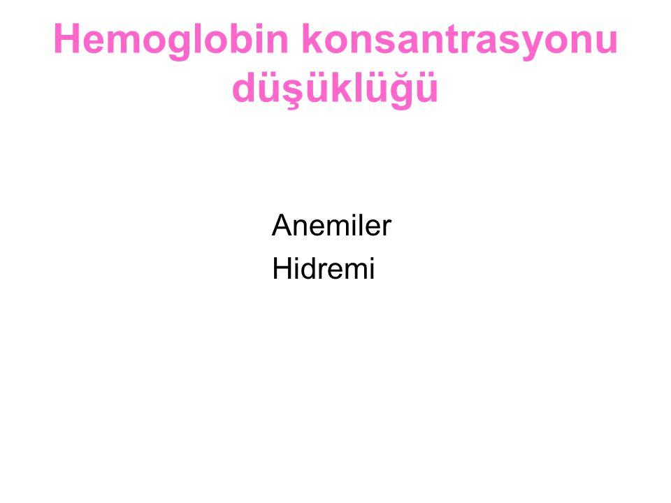 Hemoglobin konsantrasyonu düşüklüğü