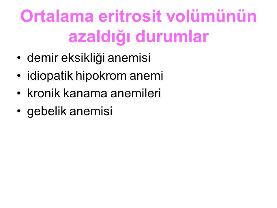 Ortalama eritrosit volümünün azaldığı durumlar