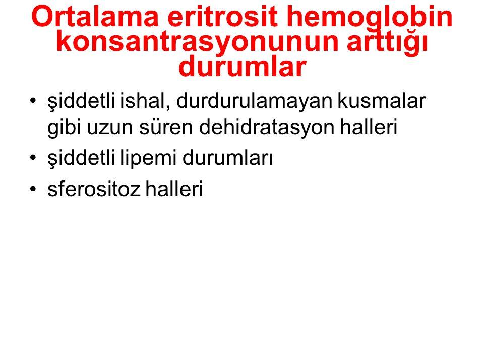 Ortalama eritrosit hemoglobin konsantrasyonunun arttığı durumlar