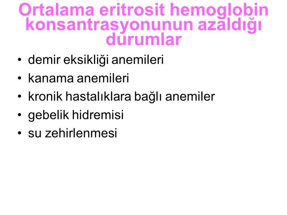 Ortalama eritrosit hemoglobin konsantrasyonunun azaldığı durumlar