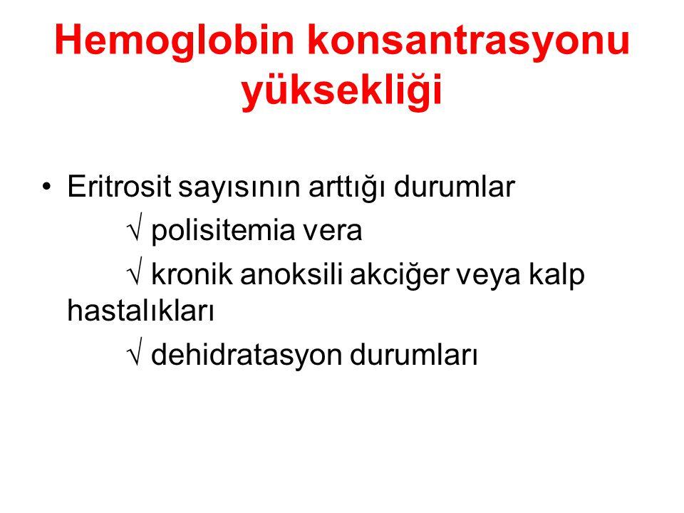 Hemoglobin konsantrasyonu yüksekliği