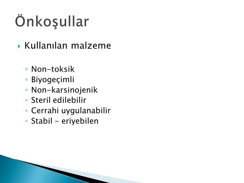 Önkoşullar Kullanılan malzeme Non-toksik Biyogeçimli Non-karsinojenik