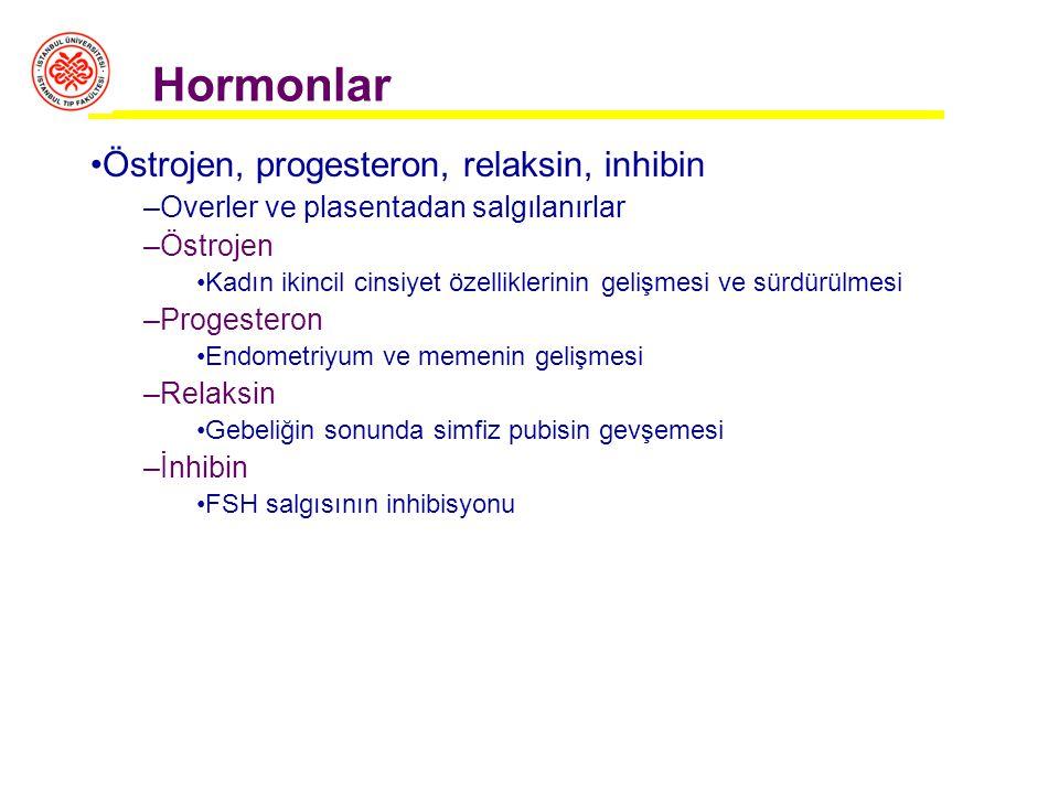 Hormonlar Östrojen, progesteron, relaksin, inhibin