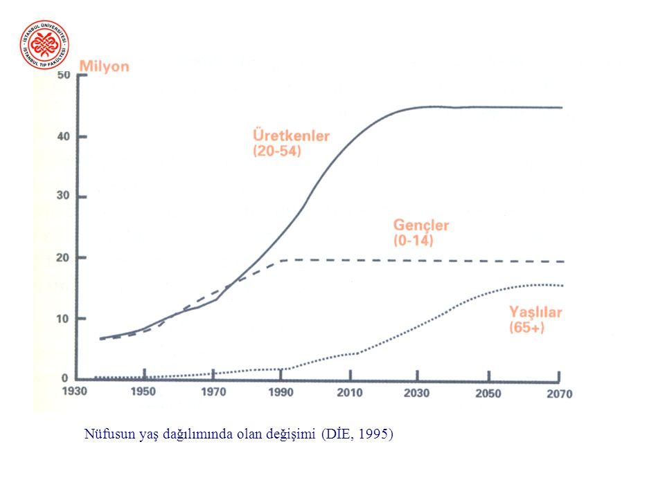 Nüfusun yaş dağılımında olan değişimi (DİE, 1995)