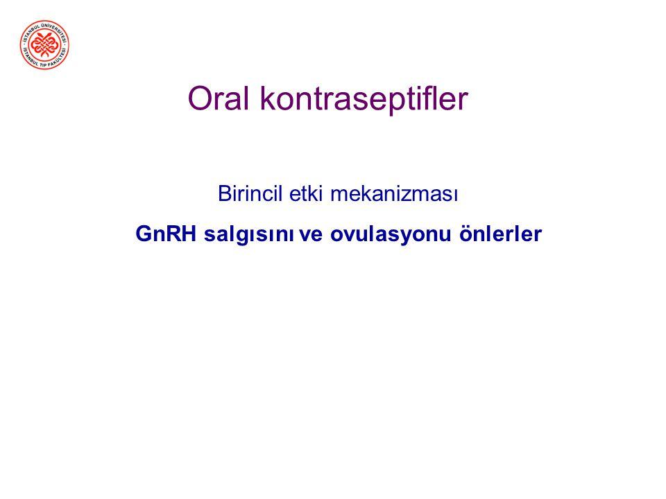 Birincil etki mekanizması GnRH salgısını ve ovulasyonu önlerler