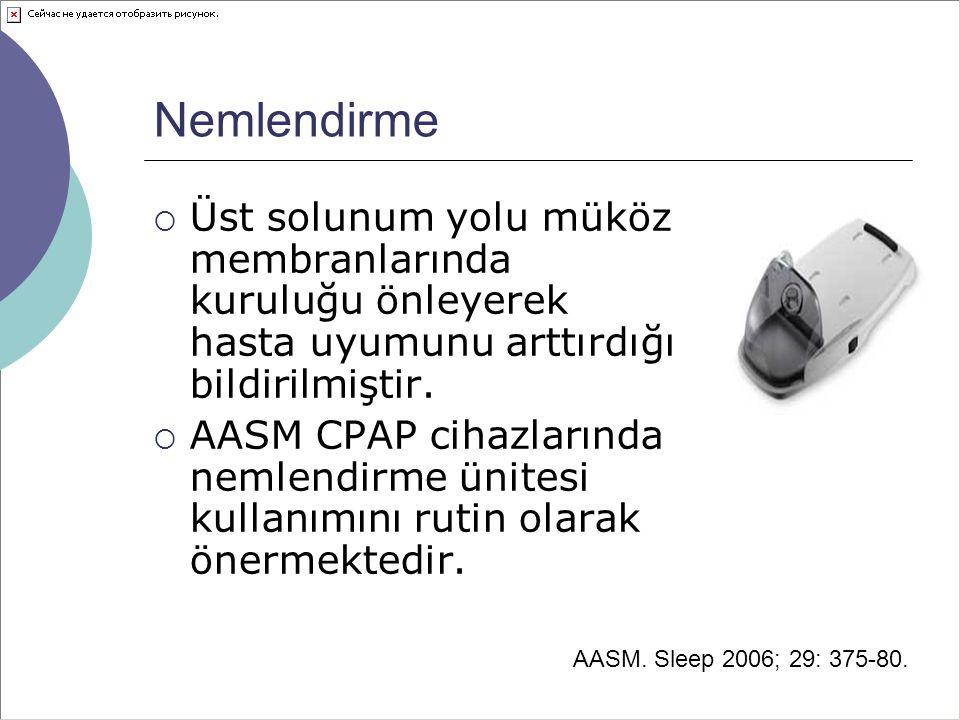 Nemlendirme Üst solunum yolu müköz membranlarında kuruluğu önleyerek hasta uyumunu arttırdığı bildirilmiştir.