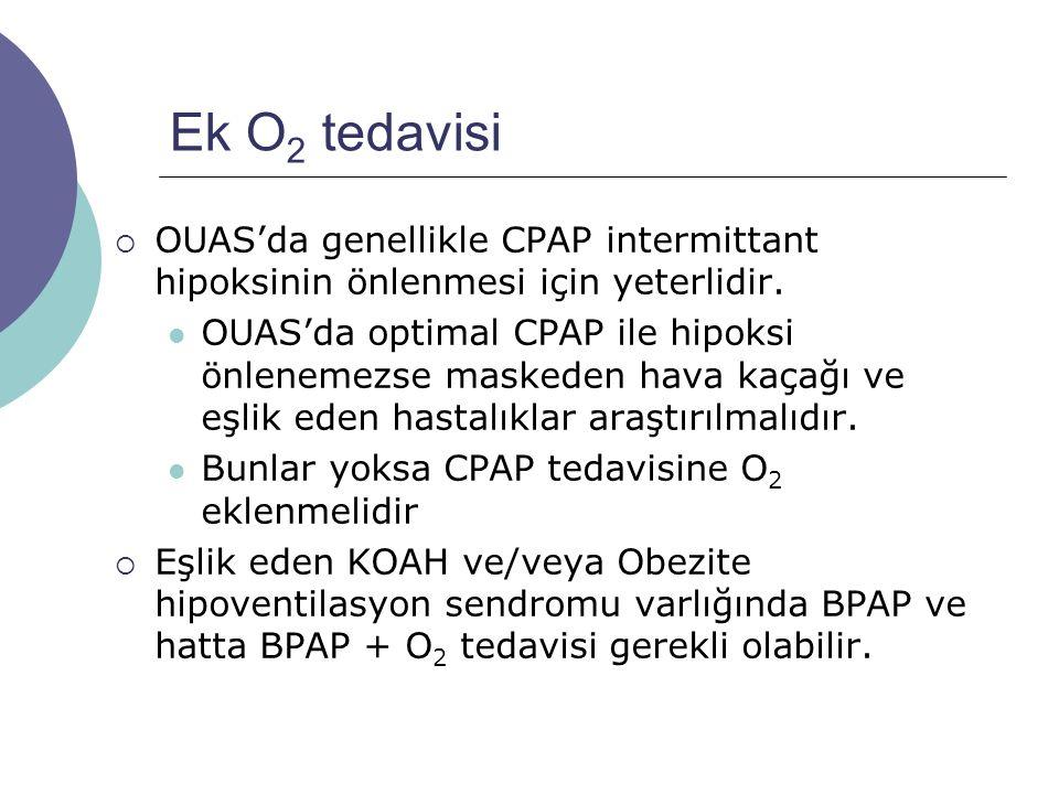 Ek O2 tedavisi OUAS'da genellikle CPAP intermittant hipoksinin önlenmesi için yeterlidir.