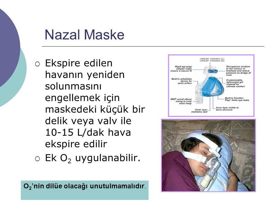 Nazal Maske Ekspire edilen havanın yeniden solunmasını engellemek için maskedeki küçük bir delik veya valv ile 10-15 L/dak hava ekspire edilir.