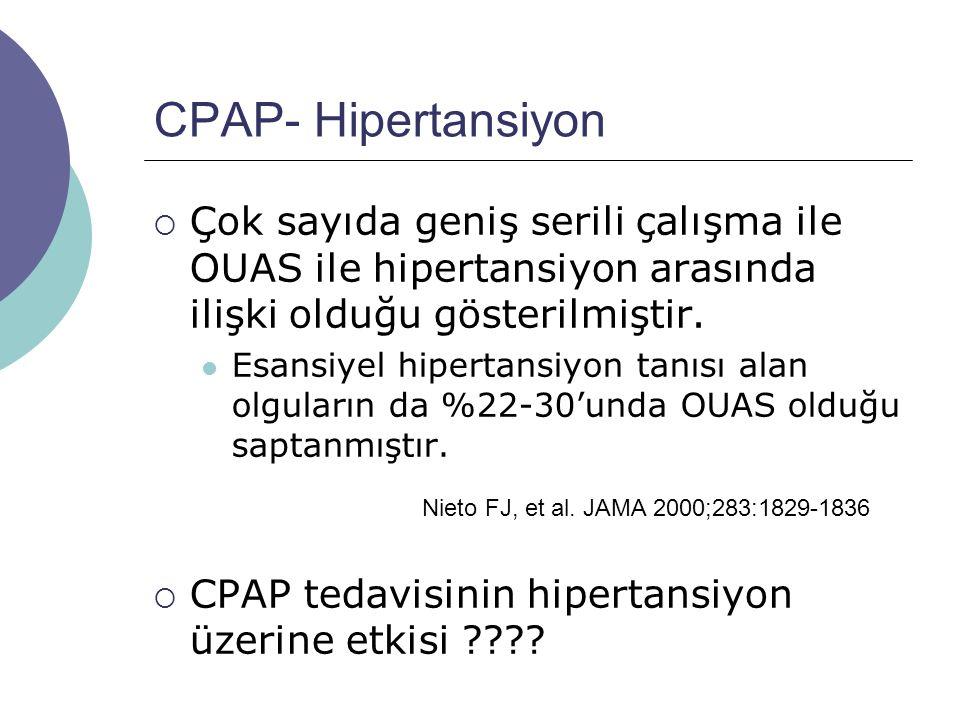 CPAP- Hipertansiyon Çok sayıda geniş serili çalışma ile OUAS ile hipertansiyon arasında ilişki olduğu gösterilmiştir.