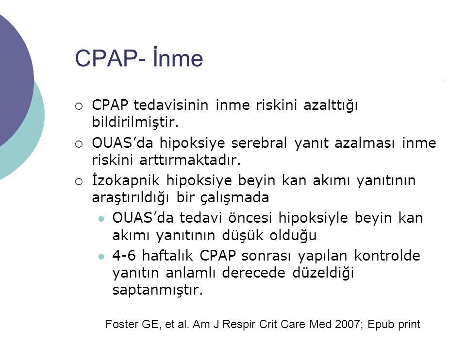 CPAP- İnme CPAP tedavisinin inme riskini azalttığı bildirilmiştir.