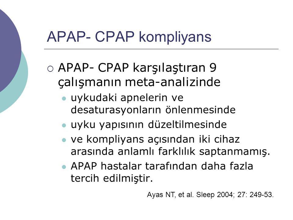 APAP- CPAP kompliyans APAP- CPAP karşılaştıran 9 çalışmanın meta-analizinde. uykudaki apnelerin ve desaturasyonların önlenmesinde.