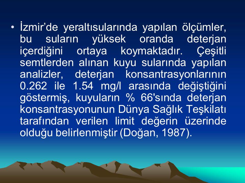 İzmir'de yeraltısularında yapılan ölçümler, bu suların yüksek oranda deterjan içerdiğini ortaya koymaktadır.