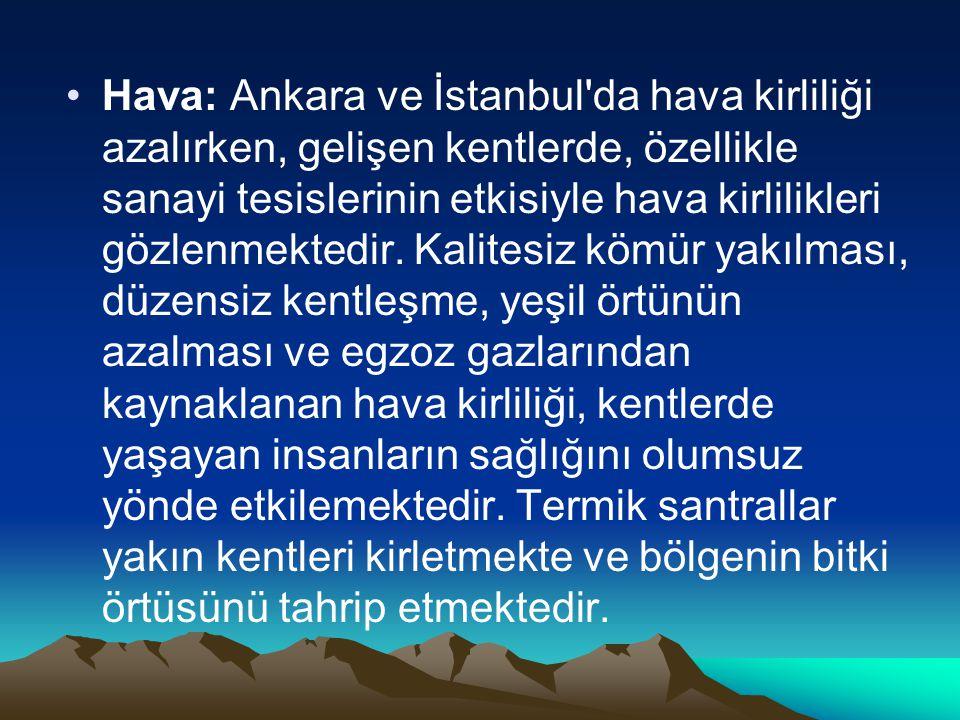 Hava: Ankara ve İstanbul da hava kirliliği azalırken, gelişen kentlerde, özellikle sanayi tesislerinin etkisiyle hava kirlilikleri gözlenmektedir.