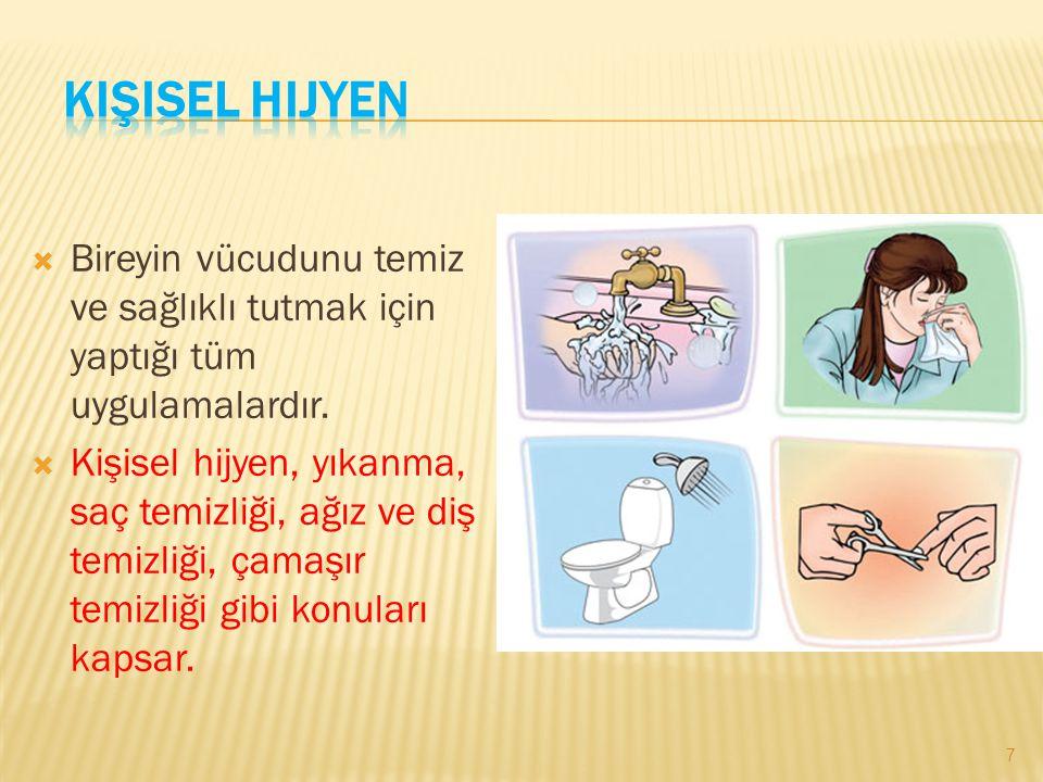 Kişisel Hijyen Bireyin vücudunu temiz ve sağlıklı tutmak için yaptığı tüm uygulamalardır.