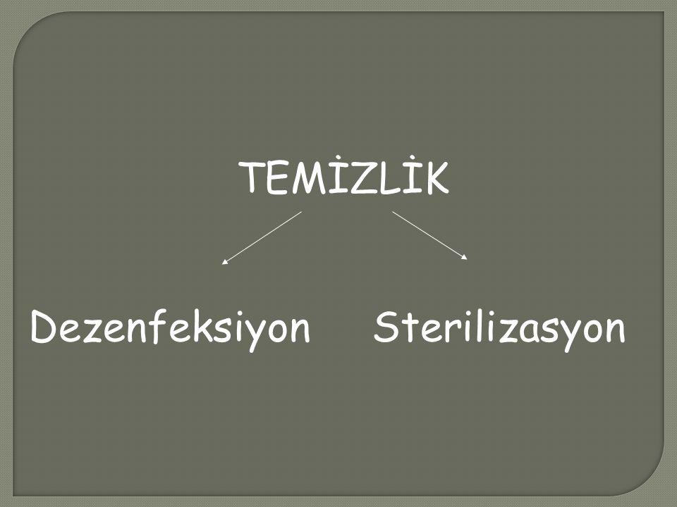 TEMİZLİK Dezenfeksiyon Sterilizasyon