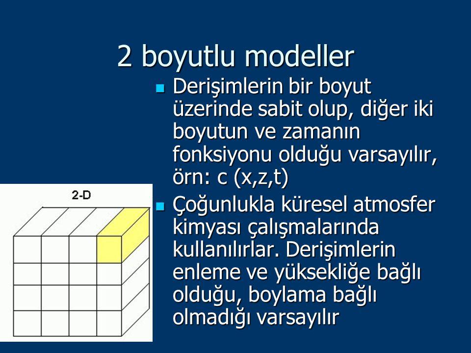 2 boyutlu modeller Derişimlerin bir boyut üzerinde sabit olup, diğer iki boyutun ve zamanın fonksiyonu olduğu varsayılır, örn: c (x,z,t)