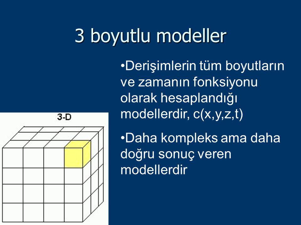 3 boyutlu modeller Derişimlerin tüm boyutların ve zamanın fonksiyonu olarak hesaplandığı modellerdir, c(x,y,z,t)