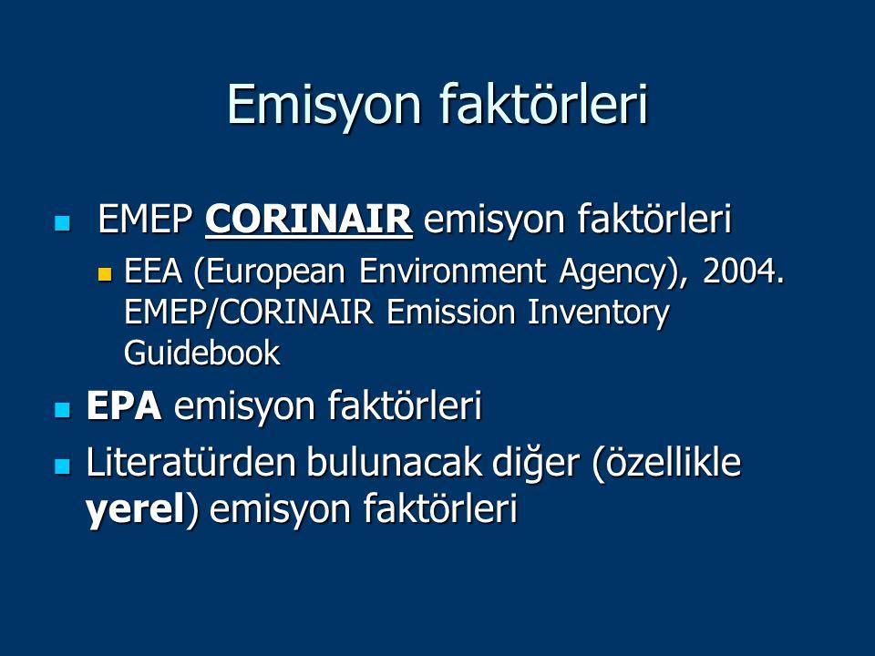 Emisyon faktörleri EMEP CORINAIR emisyon faktörleri