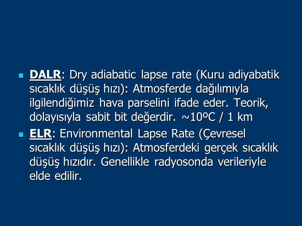 DALR: Dry adiabatic lapse rate (Kuru adiyabatik sıcaklık düşüş hızı): Atmosferde dağılımıyla ilgilendiğimiz hava parselini ifade eder. Teorik, dolayısıyla sabit bit değerdir. ~10ºC / 1 km