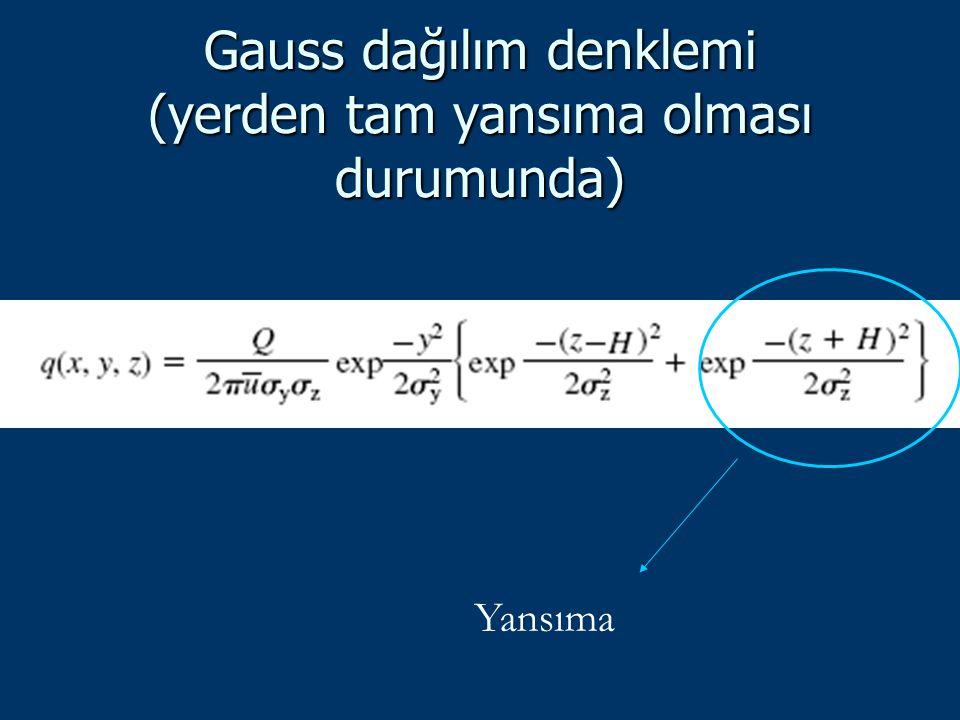 Gauss dağılım denklemi (yerden tam yansıma olması durumunda)