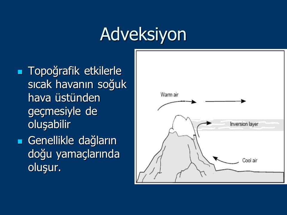 Adveksiyon Topoğrafik etkilerle sıcak havanın soğuk hava üstünden geçmesiyle de oluşabilir.