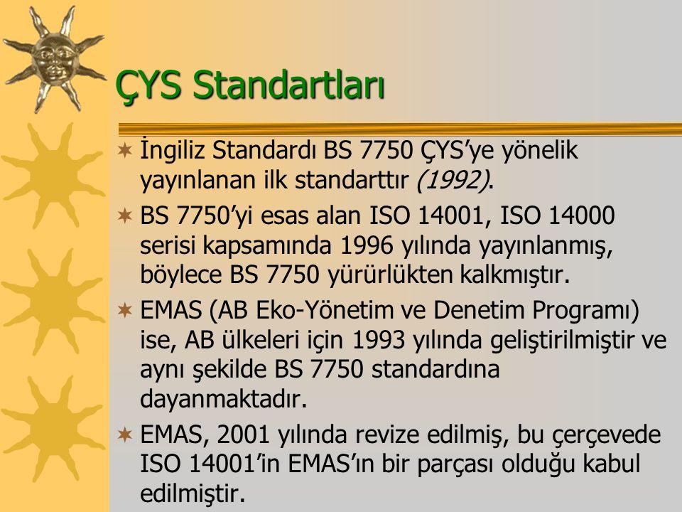ÇYS Standartları İngiliz Standardı BS 7750 ÇYS'ye yönelik yayınlanan ilk standarttır (1992).