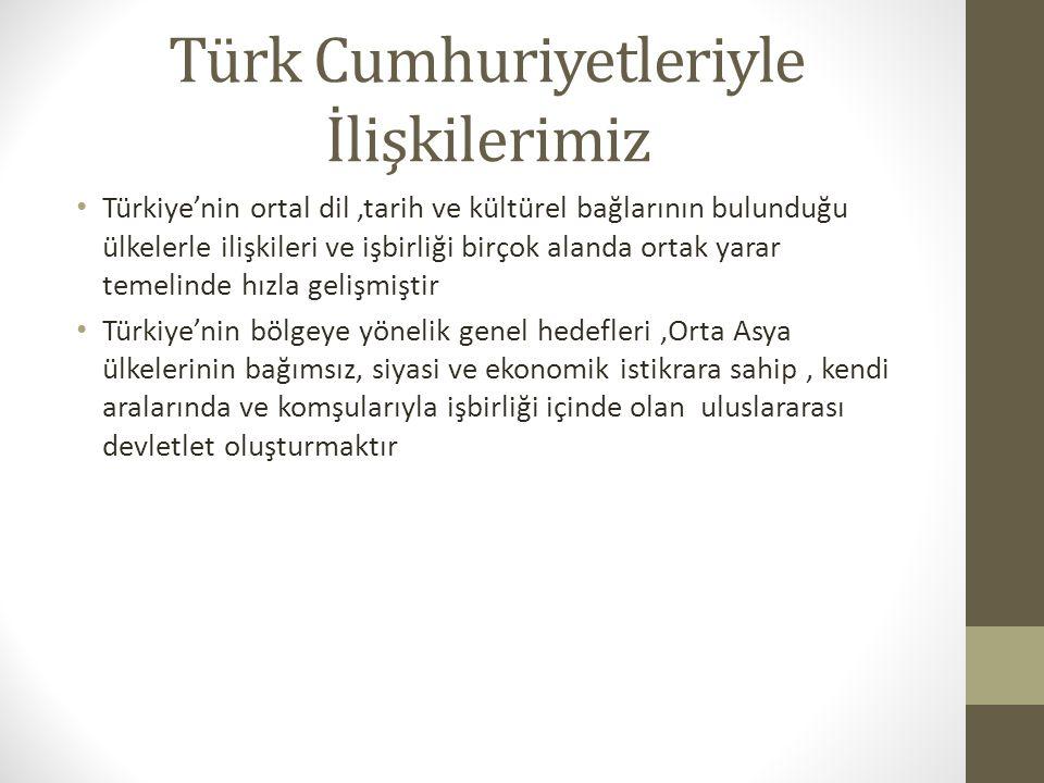 Türk Cumhuriyetleriyle İlişkilerimiz