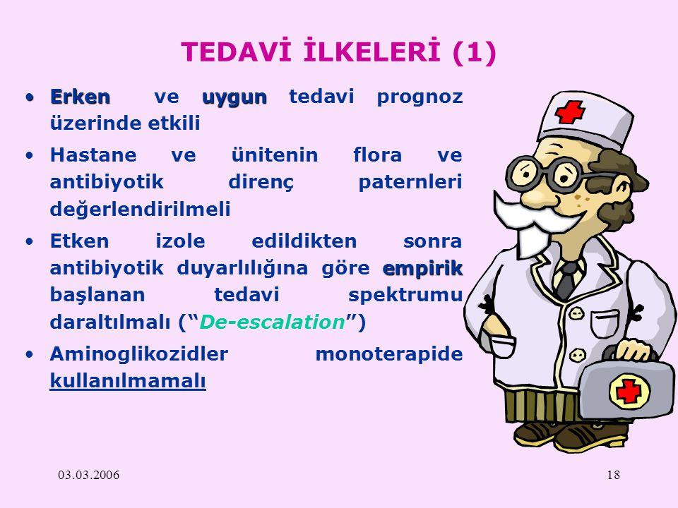 TEDAVİ İLKELERİ (1) Erken ve uygun tedavi prognoz üzerinde etkili