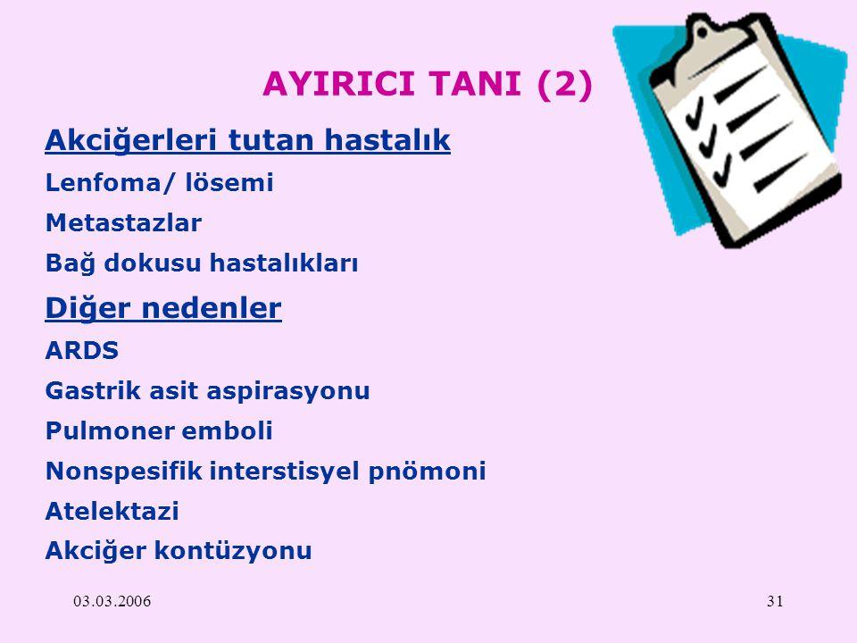 AYIRICI TANI (2) Akciğerleri tutan hastalık Diğer nedenler