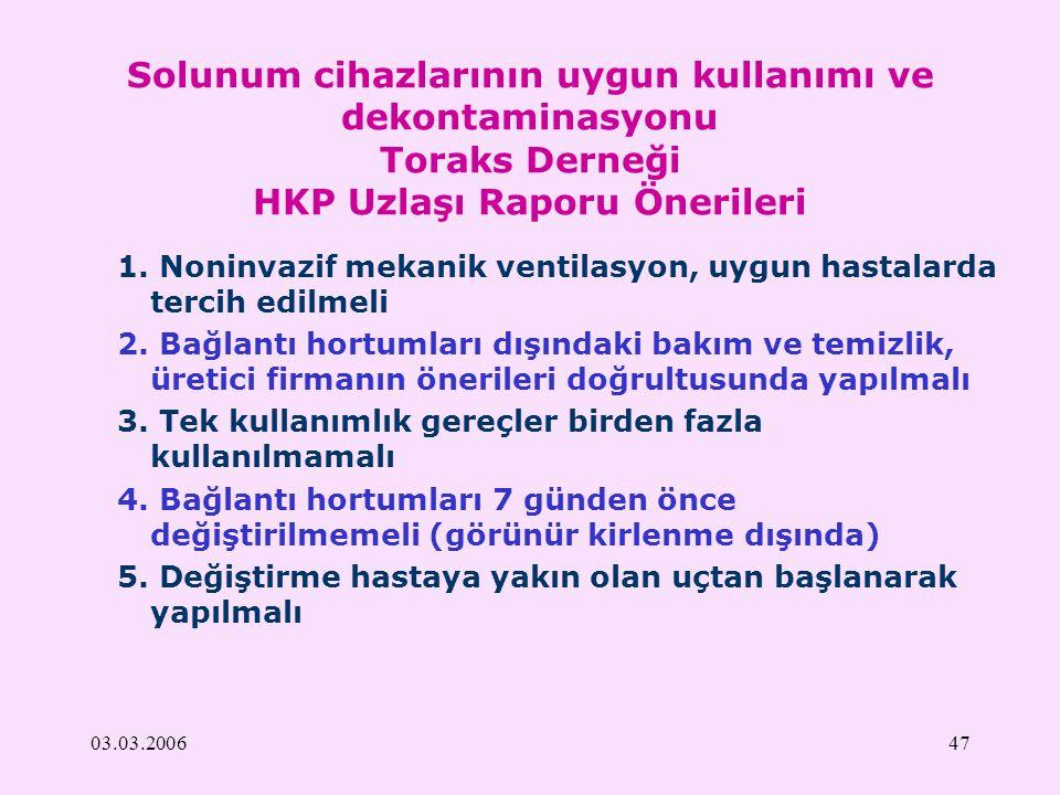 Solunum cihazlarının uygun kullanımı ve dekontaminasyonu Toraks Derneği HKP Uzlaşı Raporu Önerileri