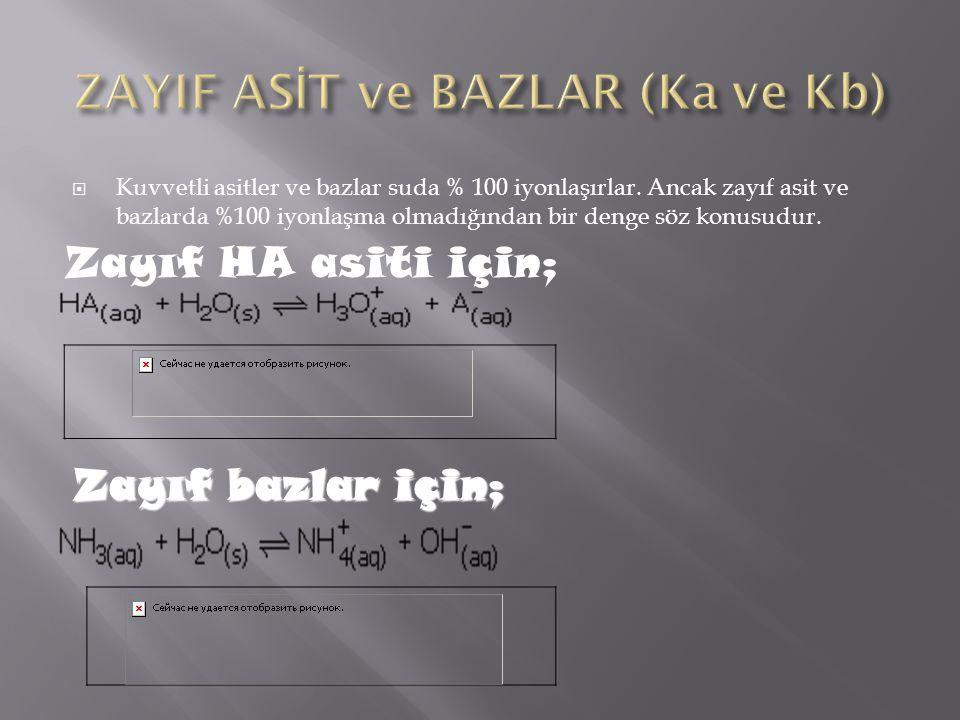 ZAYIF ASİT ve BAZLAR (Ka ve Kb)