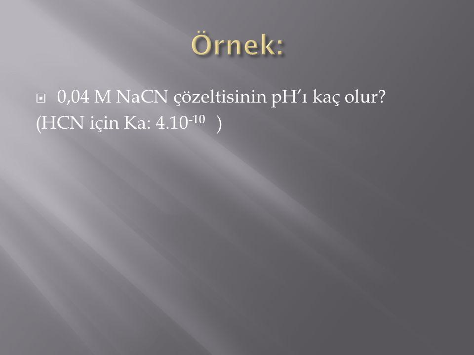 Örnek: 0,04 M NaCN çözeltisinin pH'ı kaç olur (HCN için Ka: 4.10-10 )