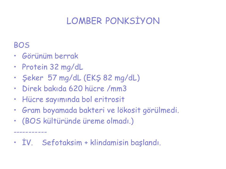 LOMBER PONKSİYON BOS Görünüm berrak Protein 32 mg/dL