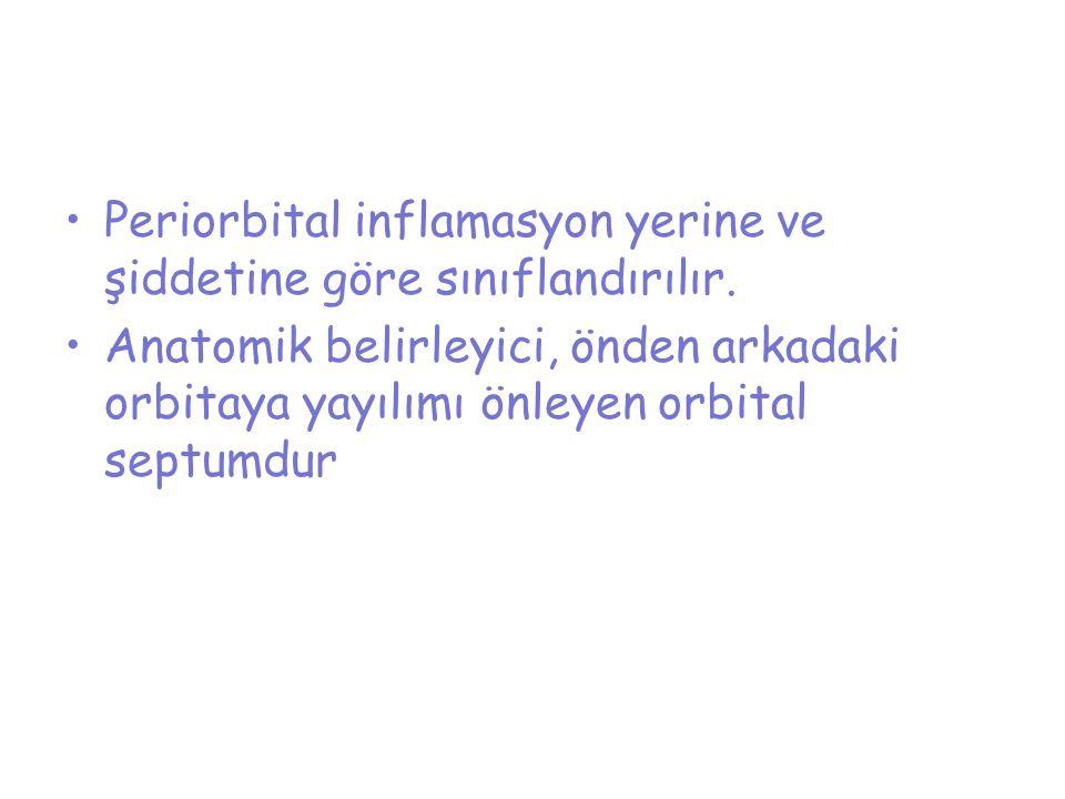 Periorbital inflamasyon yerine ve şiddetine göre sınıflandırılır.