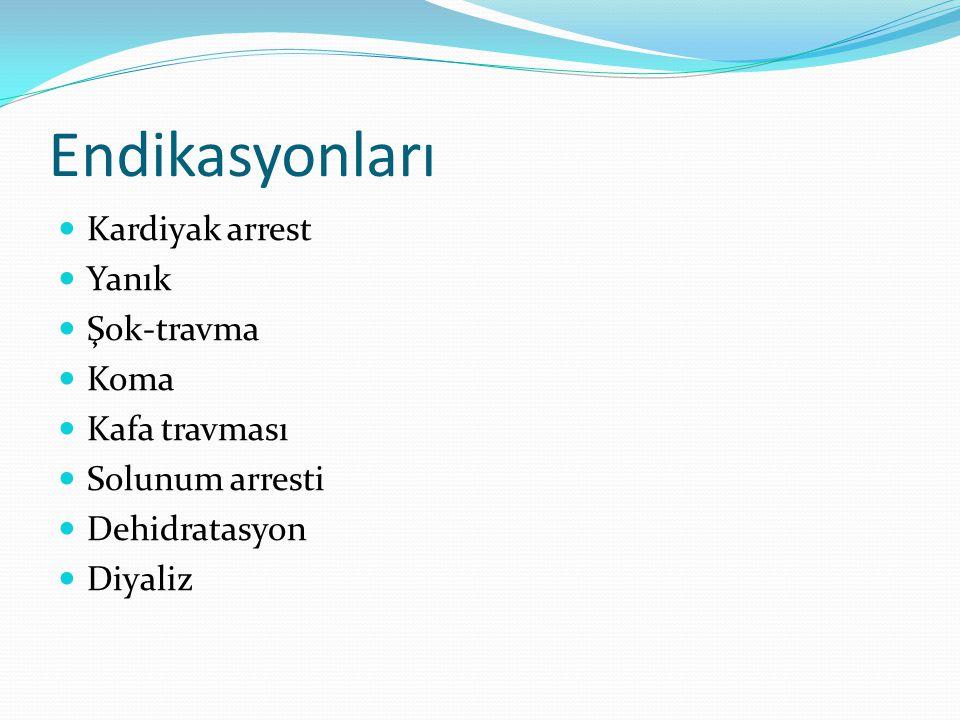 Endikasyonları Kardiyak arrest Yanık Şok-travma Koma Kafa travması