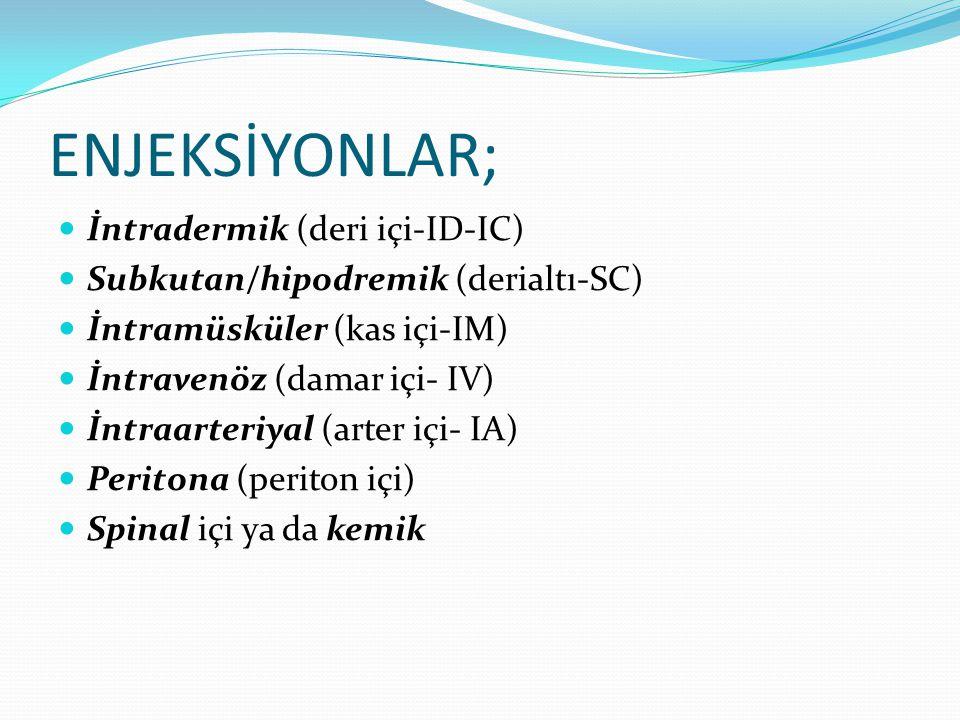 ENJEKSİYONLAR; İntradermik (deri içi-ID-IC)