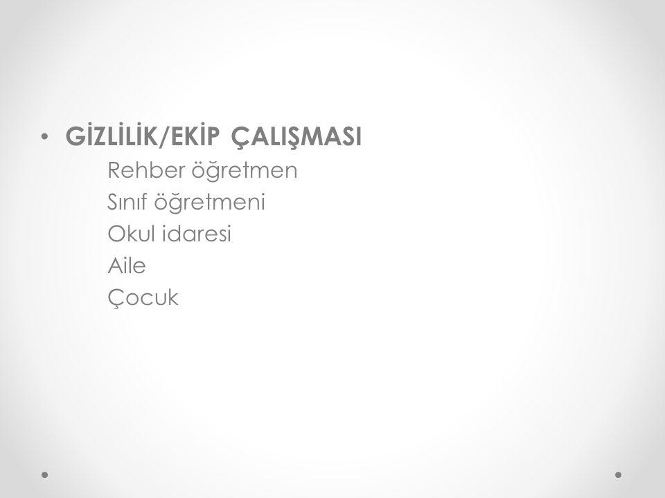 GİZLİLİK/EKİP ÇALIŞMASI