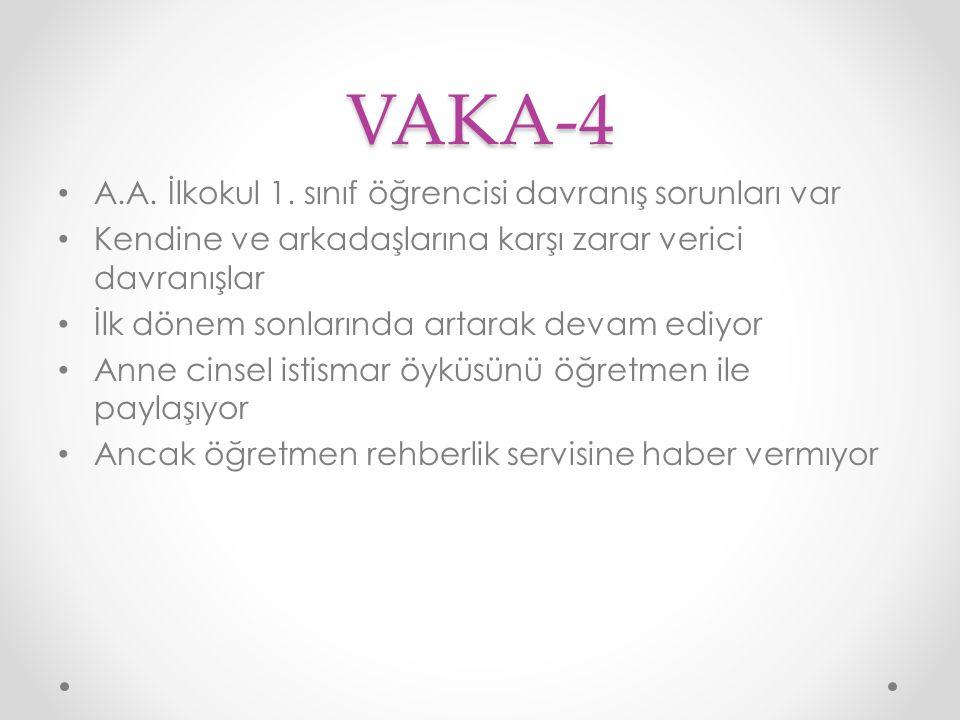VAKA-4 A.A. İlkokul 1. sınıf öğrencisi davranış sorunları var