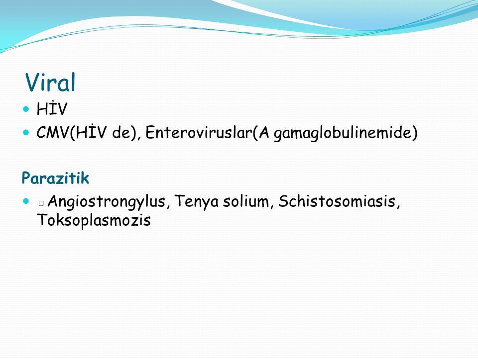 Viral HİV CMV(HİV de), Enteroviruslar(A gamaglobulinemide) Parazitik
