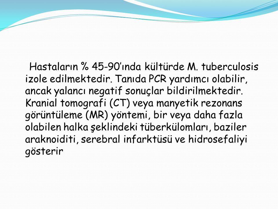 Hastaların % 45-90'ında kültürde M. tuberculosis izole edilmektedir
